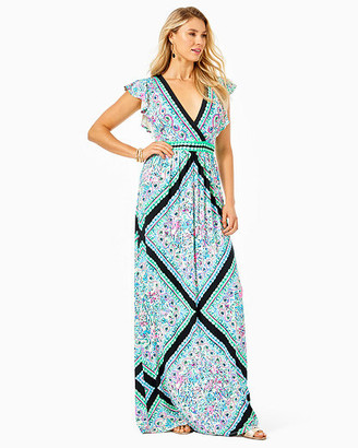 Lilly Pulitzer Roselle Flounce Sleeve Maxi Dress