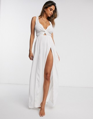 Asos Design DESIGN fuller bust tie back beach maxi dress with twist front in white