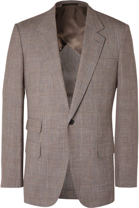 Kingsman Prince of Wales Checked Wool, Silk and Linen-Blend Suit Jacket - Men - Brown
