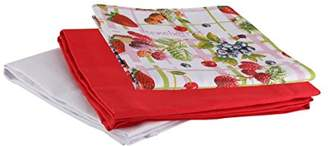 axentia 100% Cotton Hand Towels with Loops - Dish Towels Pack in Red, White & Strawberry Print, 3 pc Set - Large Dish Clothes 50x70cm