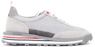 Thom Browne Tech Runner Mesh And Suede Trainers - Grey