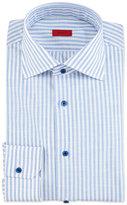 Isaia Striped Chambray Dress Shirt, Blue/White