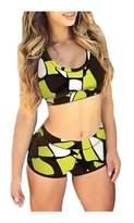 Wowforu Sport Bathing Suit Bandage Swimsuit for Women Two Pieces Boyleg Shorts Swimwear