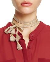 Chan Luu Chiffon Beaded Tassel Necktie