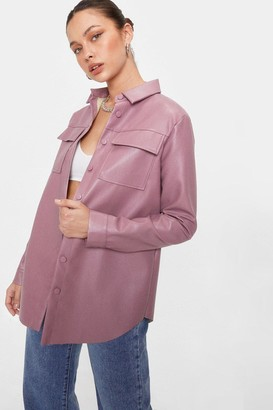 Nasty Gal Womens Faux Leather Oversized Button Down Shirt Jacket - Lipstick