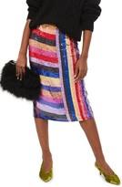 Topshop Women's Premium Rainbow Sequin Midi Skirt