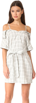 MinkPink Gingham Off Shoulder Shirt Dress