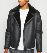 New Look Leather-Look Aviator Jacket