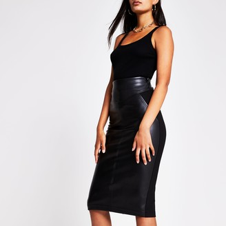 River Island Womens Black faux leather ponte midi pencil skirt