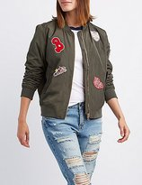 Charlotte Russe Patch Zip-Up Bomber Jacket