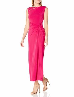 Ellen Tracy Women's Rose Lace Insert Side Knot Gown