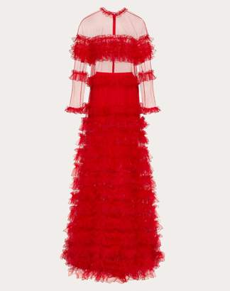 Valentino Tulle Evening Dress With Ruffles Women Red 100% Poliammide 40