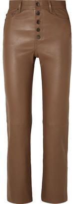 Joseph Den Leather Straight-leg Pants - Brown