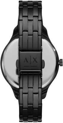Armani Exchange Black Sunray and Mother of Pearl Outer Dial Black Stainless Steel Bracelet Ladies Watch