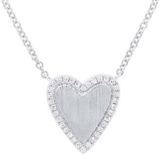 Ron Hami 14K White Gold Pave Diamond Heart Pendant Necklace - 0.09 ctw