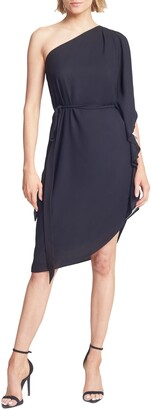 Halston Asymmetrical Tie Waist Flowy Dress
