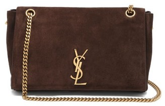 Saint Laurent Kate Reversible Leather And Suede Shoulder Bag - Brown