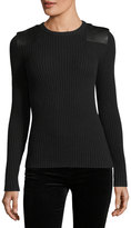 Ralph Lauren Ribbed Knit Leather-Trim Cashmere Sweater