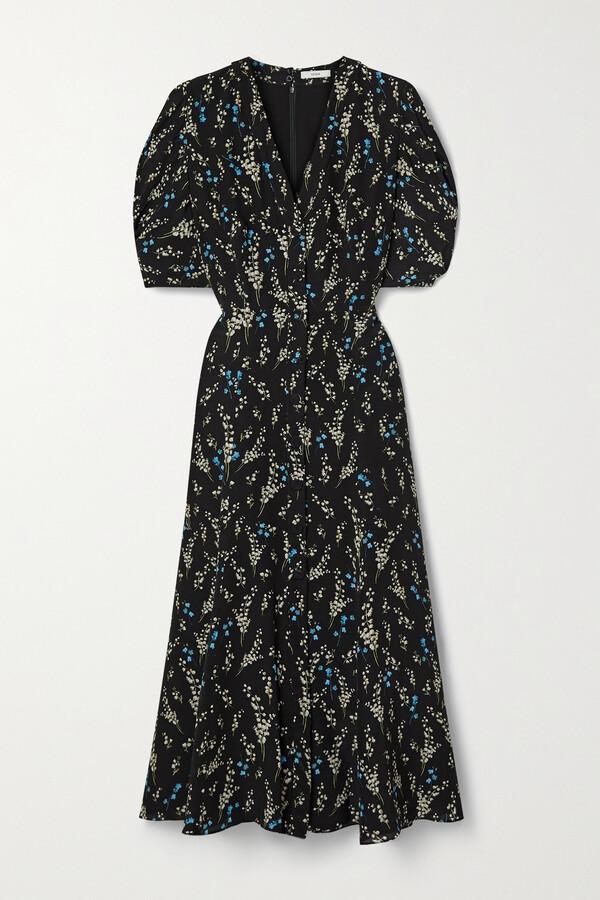 Thumbnail for your product : Erdem Gracelyn Floral-print Silk Crepe De Chine Midi Dress - Black