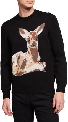 Burberry Men's Fawn Intarsia-Knit Crewneck Sweater