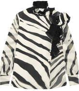 Lanvin Ruffled Zebra-print Silk-chiffon Blouse - Ivory