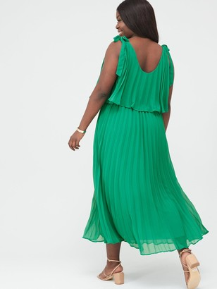 V By Very Curve Tiered Pleated Chiffon Midi Dress - Green