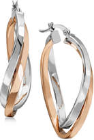 Macy's Two-Tone Twisted Hoop Earrings in Sterling Silver and 18k Rose Gold Plating