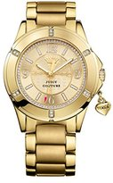Juicy Couture Rich Girl Women's Quartz Watch with Gold Dial Analogue Display and Gold Stainless Steel Gold Plated Bracelet 1901200