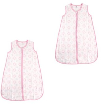Hudson Baby Boy and Girl Muslin Sleeping Bag 2 Pack, Pink Damask, 6-12 Months