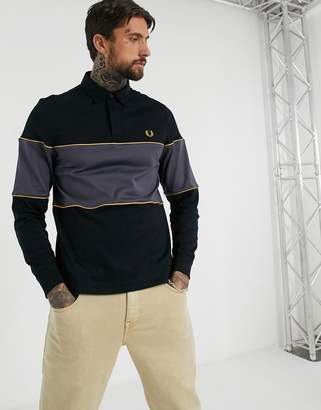 Fred Perry rugby colour block polo in black and grey