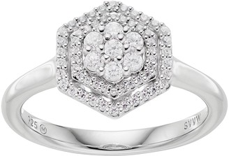 Vera Wang Simply Vera 10th Anniversary Sterling Silver 1/3 Carat T.W. Diamond Flower Hexagon Ring