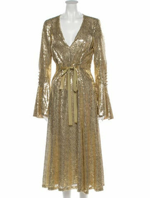 Prabal Gurung Plunge Neckline Midi Length Dress w/ Tags Gold