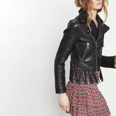Maje Leather jacket with woven detailing