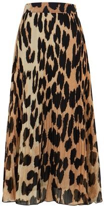 Ganni Leopard-print Plisse Georgette Midi Skirt