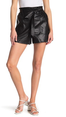 Blanknyc Denim Faux Leather Tie Waist Shorts