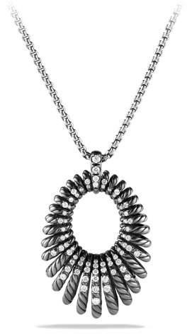 David Yurman 34mm Tempo Pavé Diamond Pendant Necklace