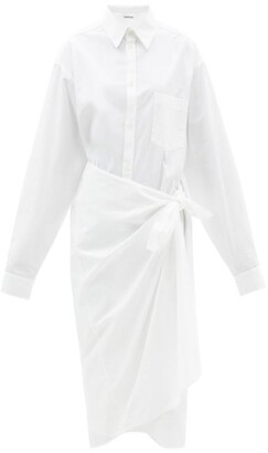 Balenciaga - Oversized Cotton-poplin Wrap Shirt Dress - White