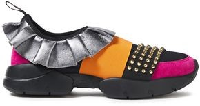 Emilio Pucci City One Ruffled Leather, Suede And Neoprene Slip-on Sneakers