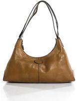 Tod's Camel Brown Leather Silver Tone Hobo Shoulder Handbag