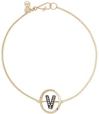 Annoushka 18kt yellow gold diamond initial V bracelet