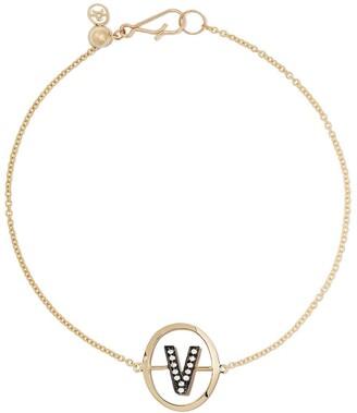 Annoushka 18kt yellow gold diamond initial V bracelet