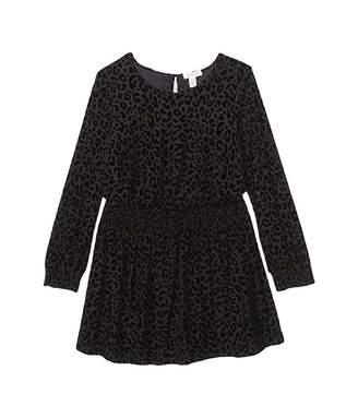 Ella Moss Velour Animal Print Chiffon Dress (Big Kids)