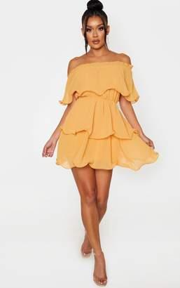 PrettyLittleThing Mustard Chiffon Bardot Ruffle Tiered Dress