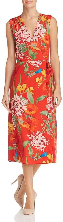 Alice + Olivia Tasia Floral Print Silk Wrap Dress