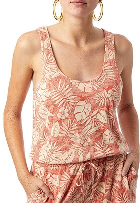 Alternative Lounge Romper in Eco Jersey (Orange Tropical Palm) Women's Jumpsuit & Rompers One Piece