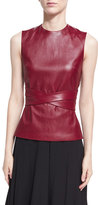 Rosetta Getty Leather Apron-Front Vest, Dark Red