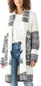 Lucky Brand Printed Shawl-Collar Cardigan