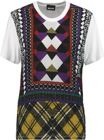Just Cavalli Printed chiffon and jersey paneled T-shirt