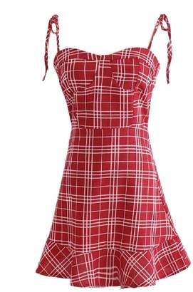 Goodnight Macaroon 'Zoey' Plaid Strapped Mini Dress