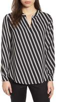 Anne Klein Stripe V-Neck Blouse